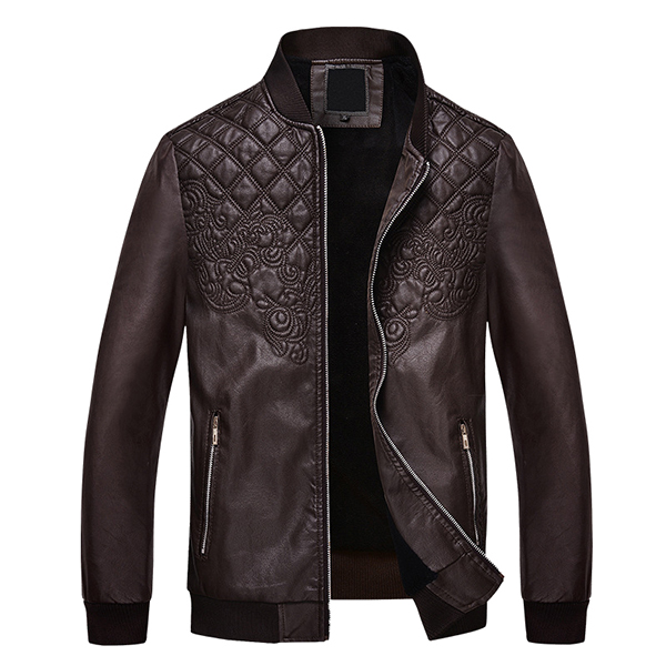 Mens Fashion PU Leather Motorcycle Jacket Thicken Warm Stand Collar Casual Coat