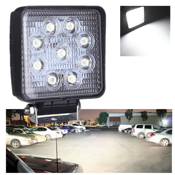 12V 27W Square LED Work Light Flood Truck ATV Boat 4x4 Offroad Light
