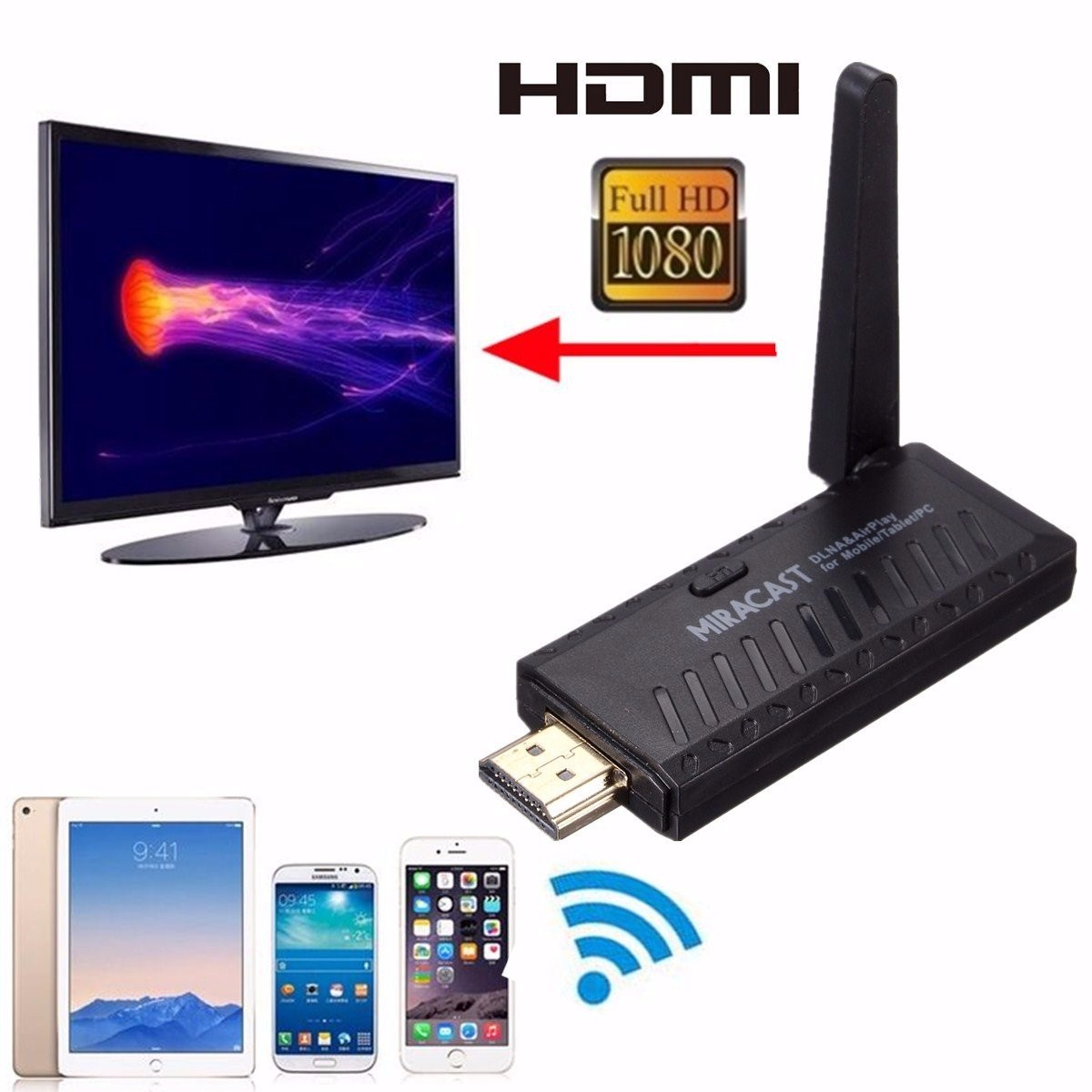 Miracast Dongle DLNA Airplay WiFi Display Receiver for TV Projector