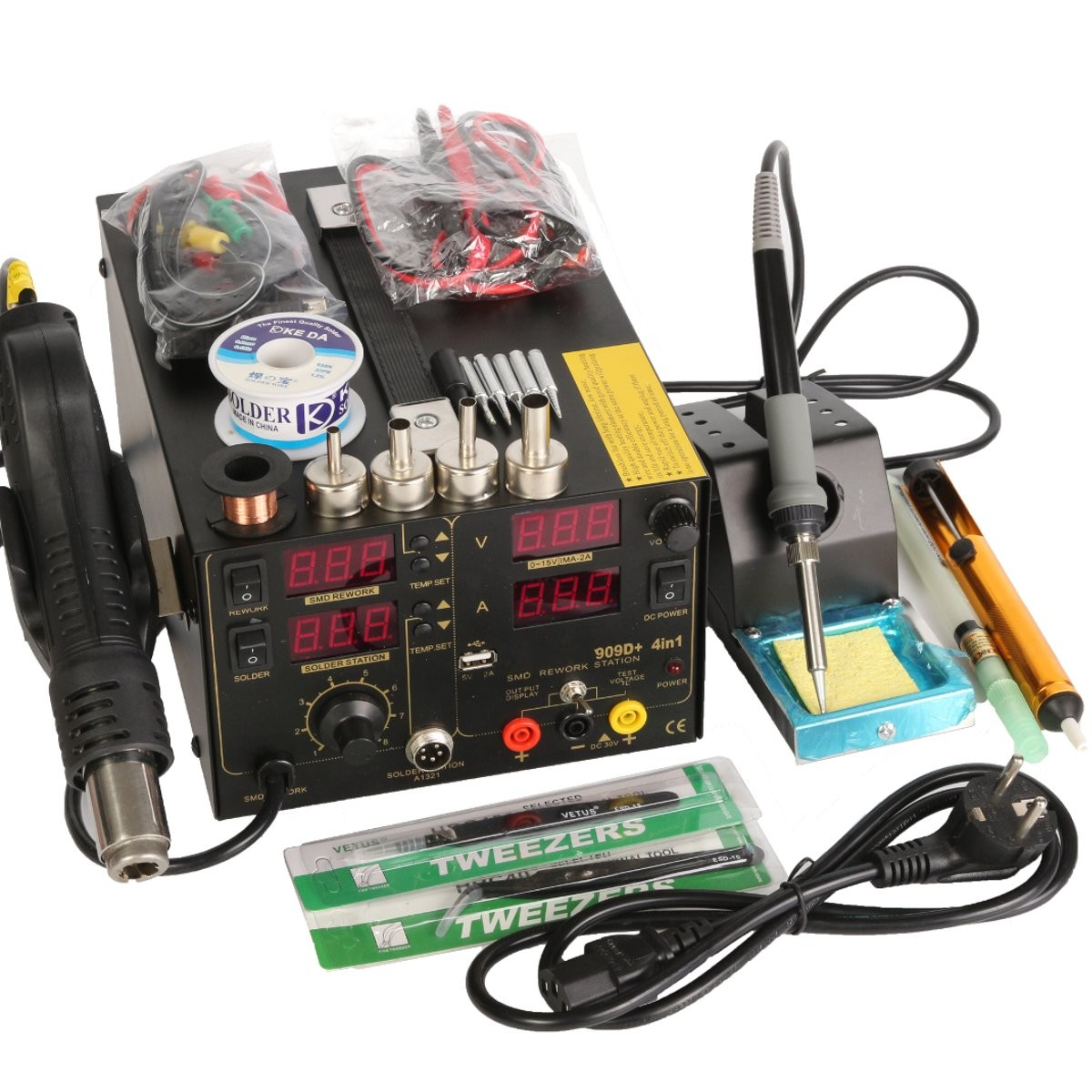 Saike 909D+ Rework Soldering Station + Hot Air Gun + DC Power Supply