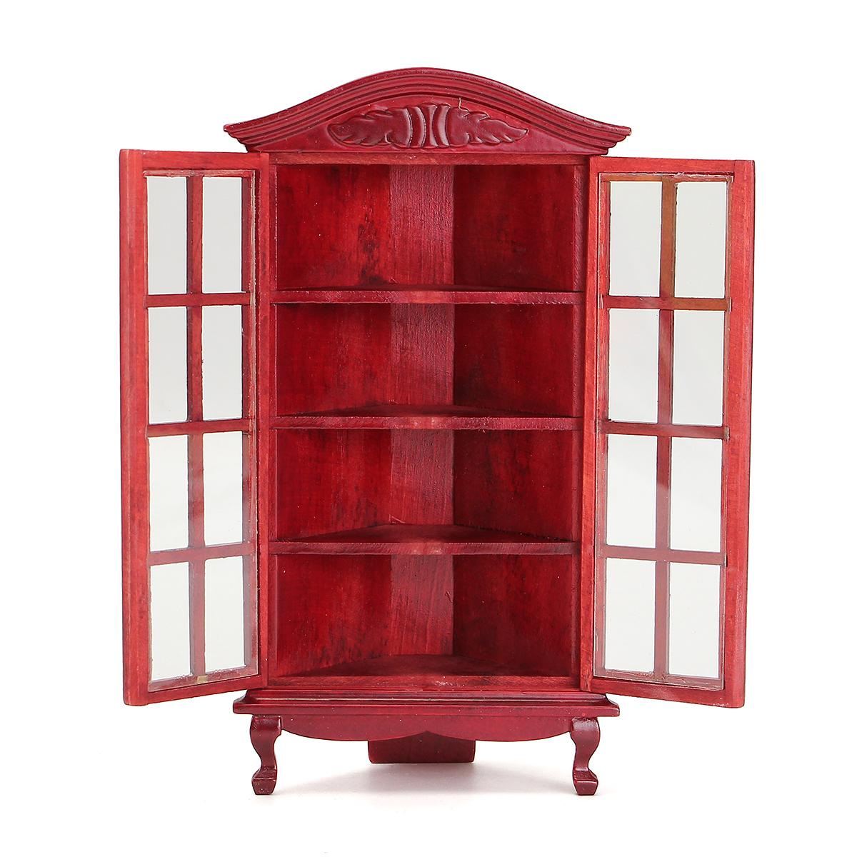 1 12 dollhouse miniature furniture modern white red wooden display cabinet doll house Dollhouse wooden furniture