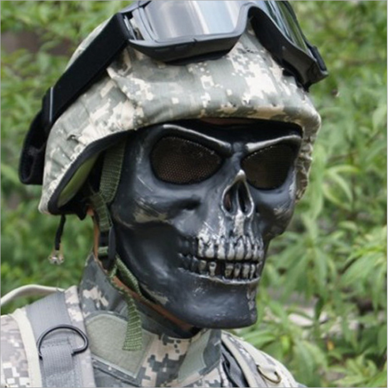 Tactical Military Skull Skeleton Full Face Security Mask War Game Hunting Costume Party chief sw2104 skull style full face mask for war game cs black