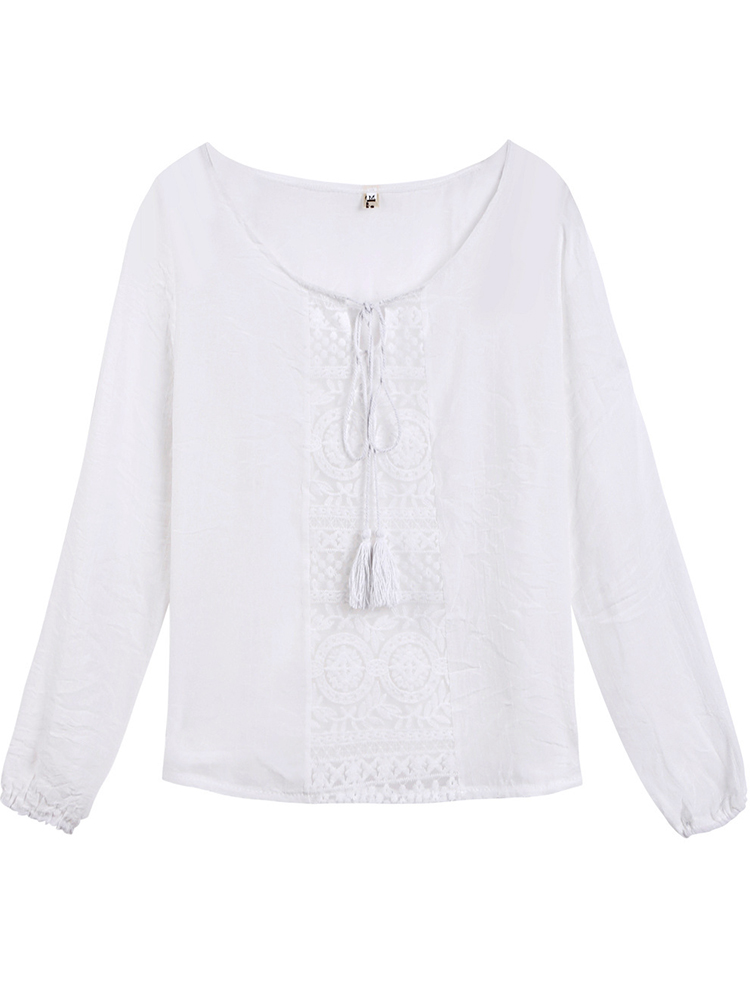 Loose Sexy Women White Lace Crochet Patchwork Off Shoulder T-Shirt