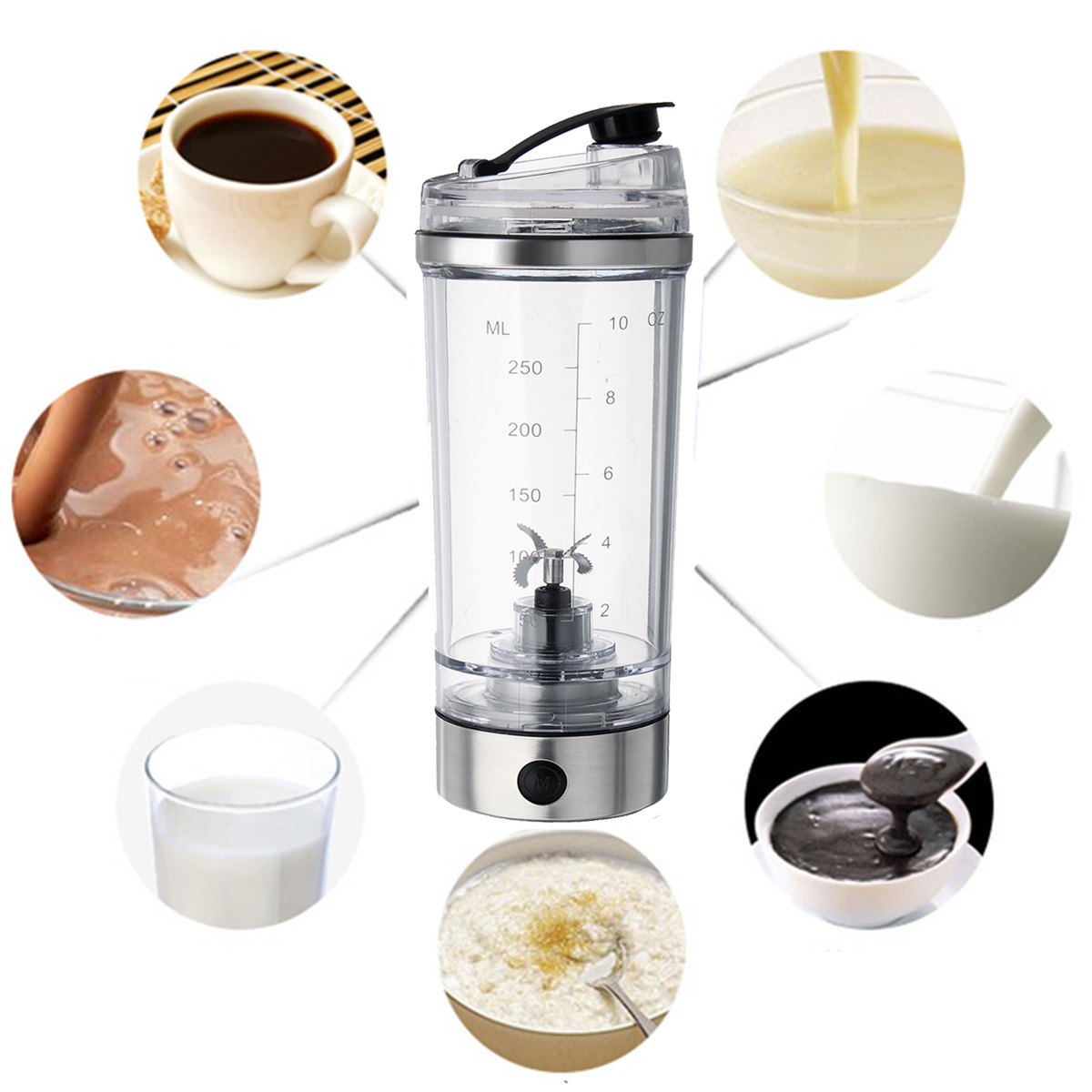 250ML Portable USB Rechargeable Protein Shaker Tornado Mixer Bottle HandHeld Drink Stirring Cup 42