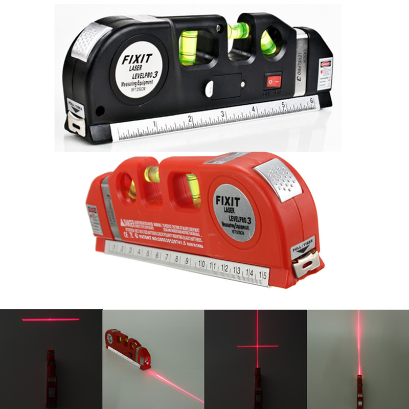 Multipurpose Laser Level Aligner 3 Bubbles Measuring Tape Ruler