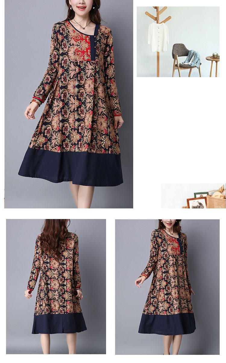 Ethnic Floral Printing Patchwork Hem Long Sleeve Loose Dress