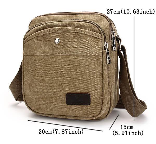 LONGWEI Men Women Canvas Causal Crossbody Bag Capacity Multifunction Shoulder Bag