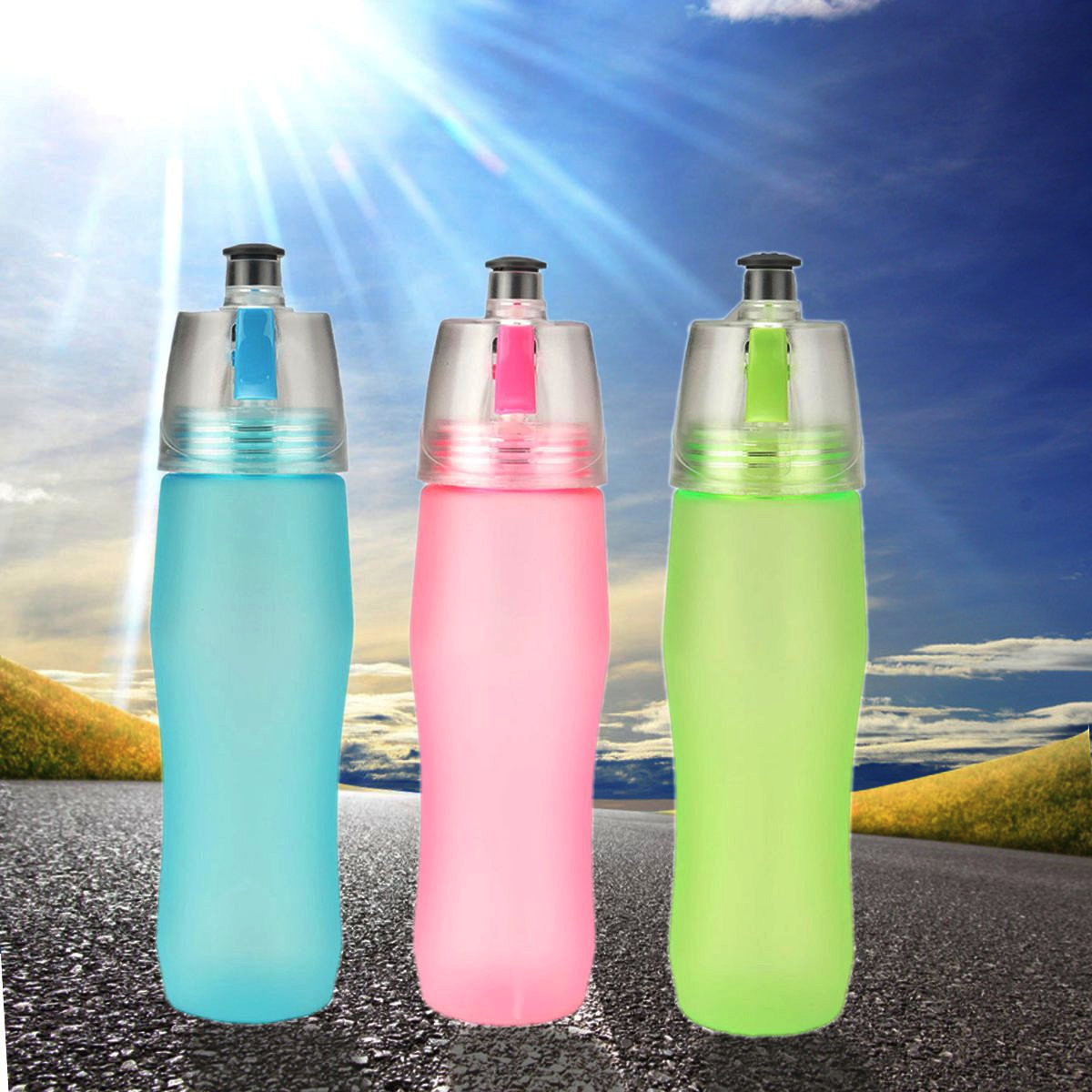 740ML Spray Sports Drinking Bottle Misting Water Cup ...