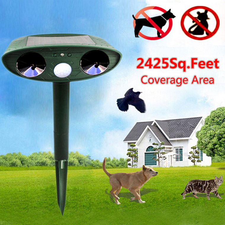 ultrasonic solar animal repeller cat dog