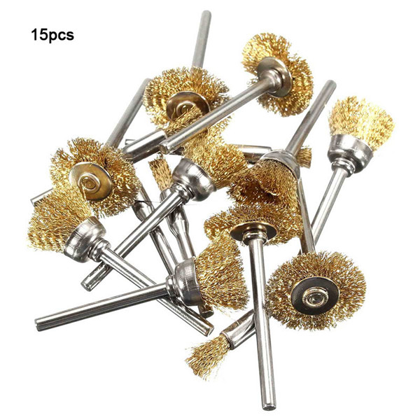 15pcs Wire Brass Brushes Wheel Dremel Accessories for Rotary Tools
