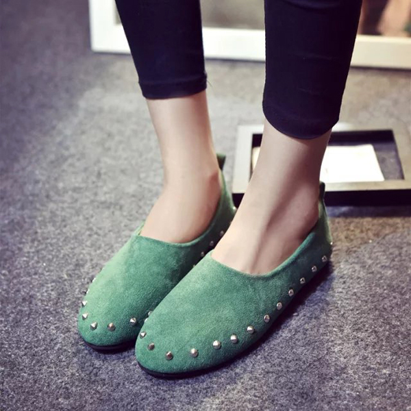 Colorful Rivet Lazy Driving Flat Shoes Soft Sole Breathable Flat Slip-ons
