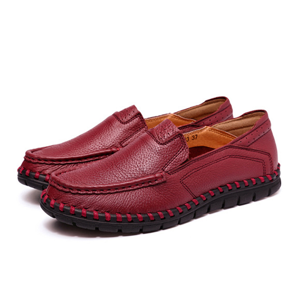 Buy Women Casual Leather Shoes Soft Outdoor Slip On Flat Loafers