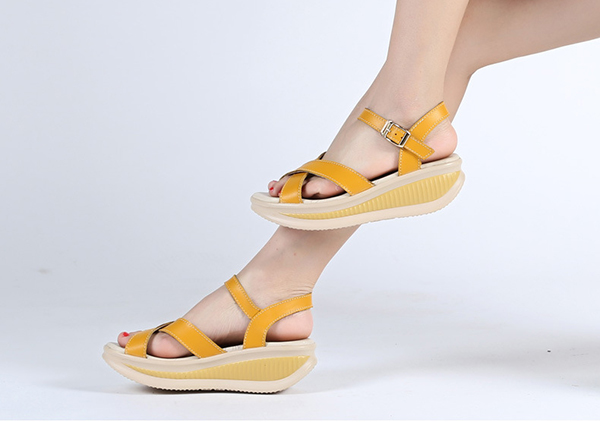 New Women Summer Wedge Platform Outdoor Soft Comfortable Casual Leather Sandals Shoes