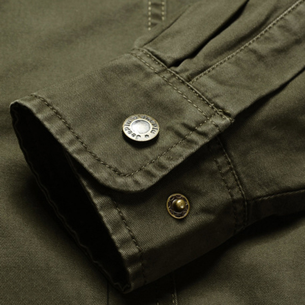 Fleece Thick Warm Turn Down Collar Solid Color Chest Pockets Military Shirt for Men