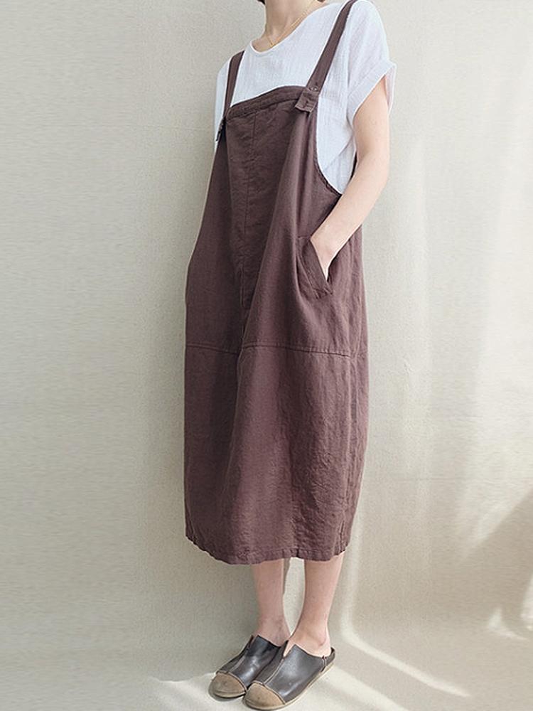 Casual Women Solid Color Cord Pocket Pinafore Dress