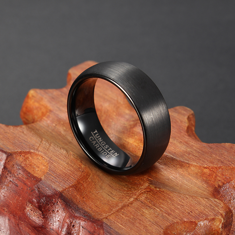 8mm Tungsten Black High Polished Men Ring Jewelry