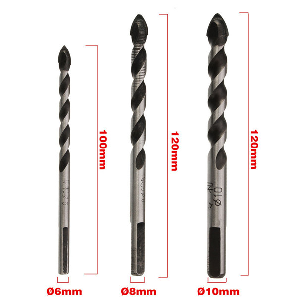 6/8/10mm Triangular Head Concrete Auger Drill Bit