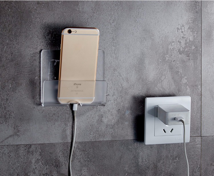 Wall charging holder adhesive phone stand durable charger mount for iphone ipad samsung xiaomi - Wall mount headphone holder ...