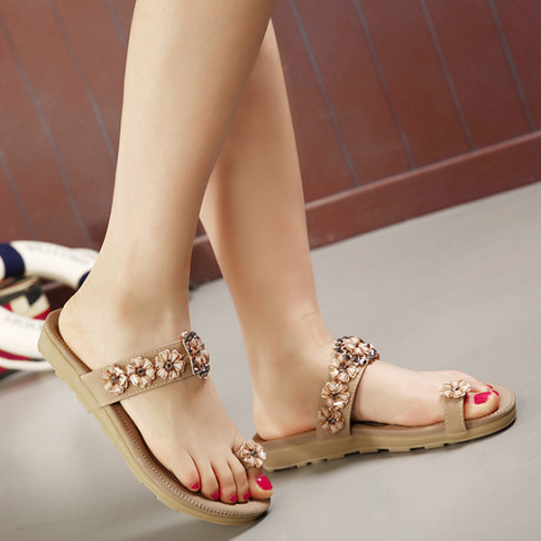 Bohemian Rhinestone  Flower Clip Toe Sandals Slip On Beach Slippers