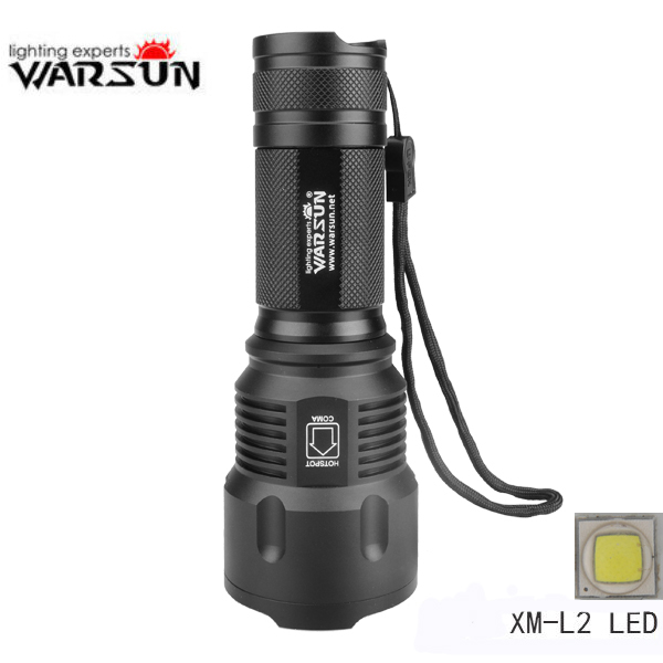 Warsun X50 XM-L2 3Modes 1200LM Zoomable LED Flashlight boruit tactical 15x xm l t6 led flashlight 18000 lumen super bright led torch light hunting lantern 15t6 4x26650 battery charger