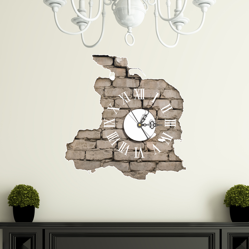 Pag sticker 3d wall clock decals breaking cracking wall for Bedroom 3d wall stickers