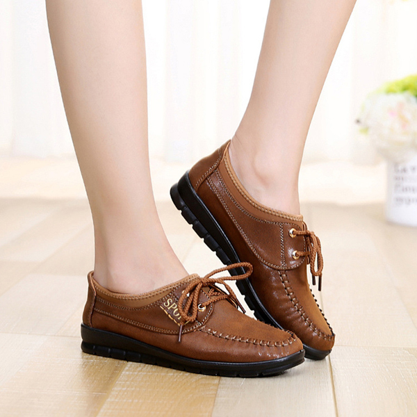 Women Casual Outdoor Soft Comfortable Flat Lace Up Cotton Flat Loafers Shoes