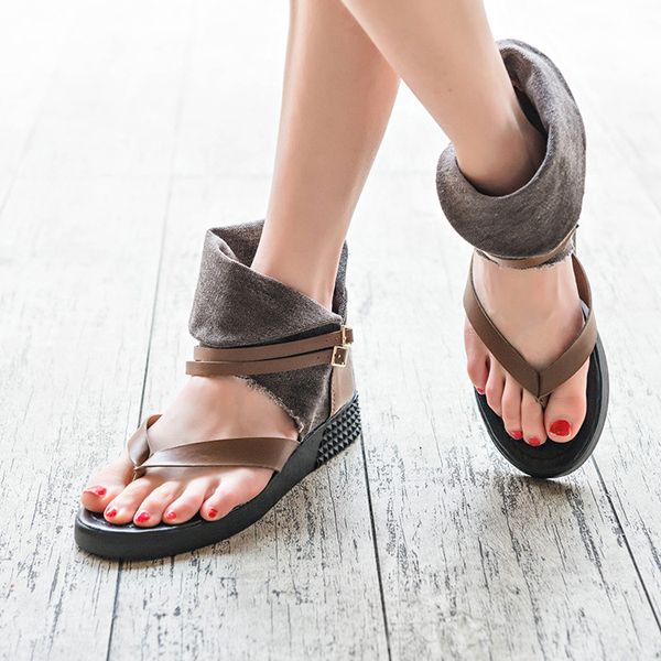 Women Summer Chic Beach Sandals Buckle Flip-flop Rome Style Sandals