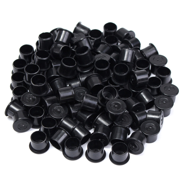 100pcs 11mm Black Plastic Steady Wide Base Ink Cups Cap Tattoo Supply