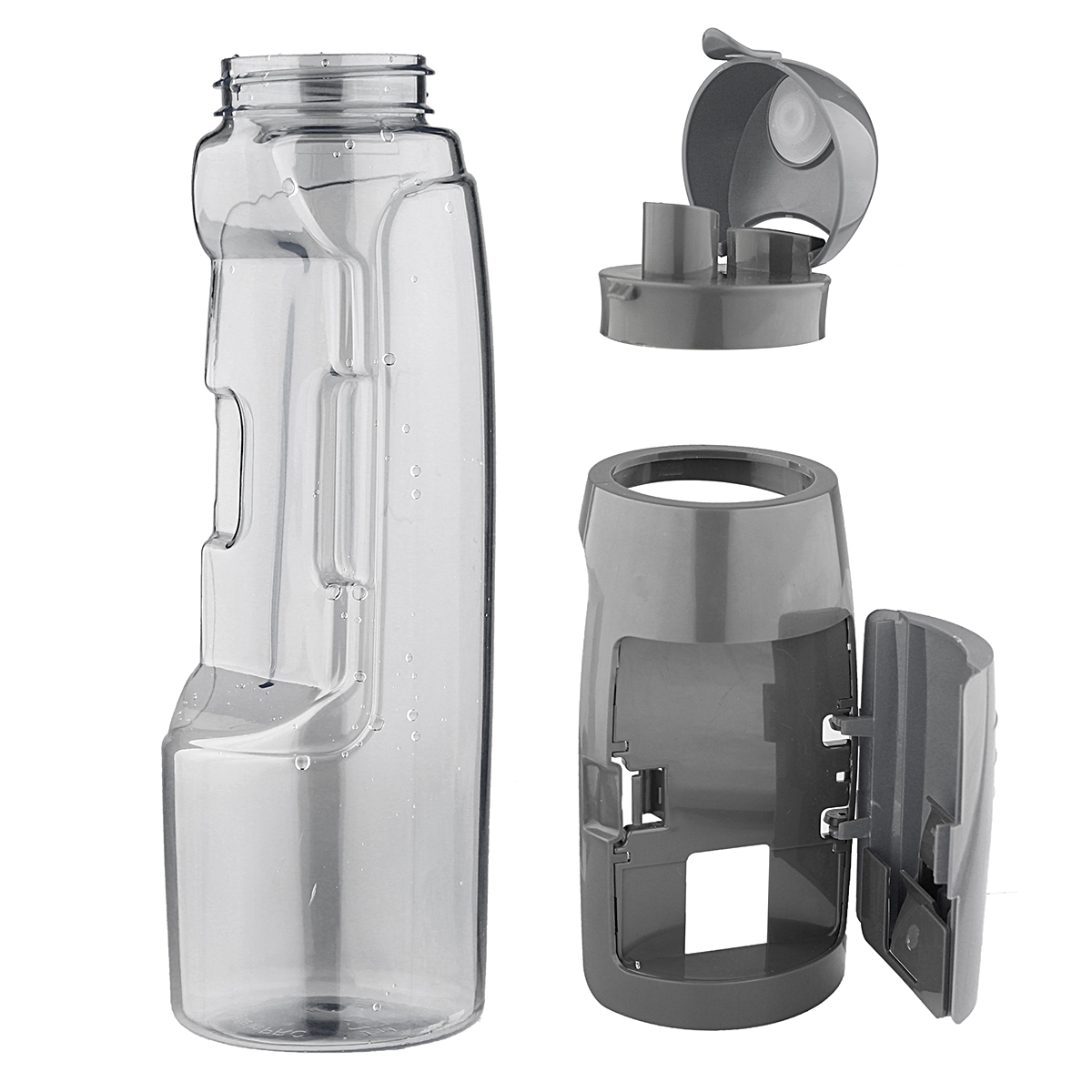 Sports Bottle With Storage Compartment: 750ML Sports Travel Water Bottle Kettle With Storage
