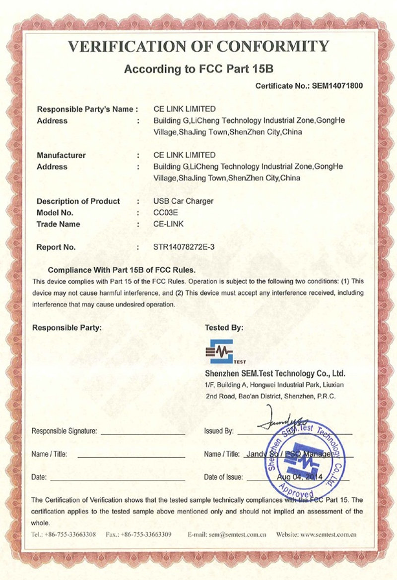 FCC certificated