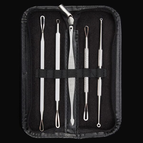 5Pcs Multipurpose Blackhead Acne Comedone Extractor Remover Stainless Steel Tool Set Kit deluxe stainless steel comedone extractor cosmetic lancet made by malteser germany