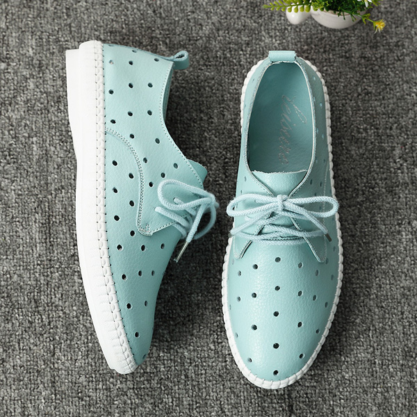 Women Summer Casual Lace-Up Outdoor Leather Soft Hollow Out Flat Loafer Shoes