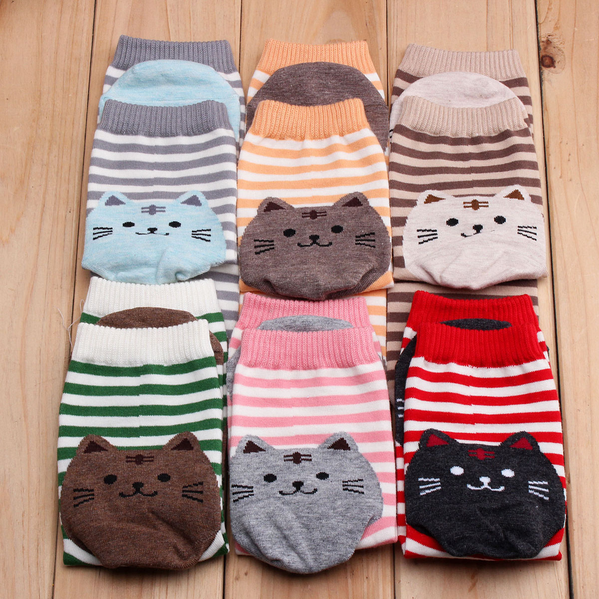 Women Girls Cartoon Animal Stripe Socks Cat Footprints Cotton Cute Hosiery cartoon animal women watch