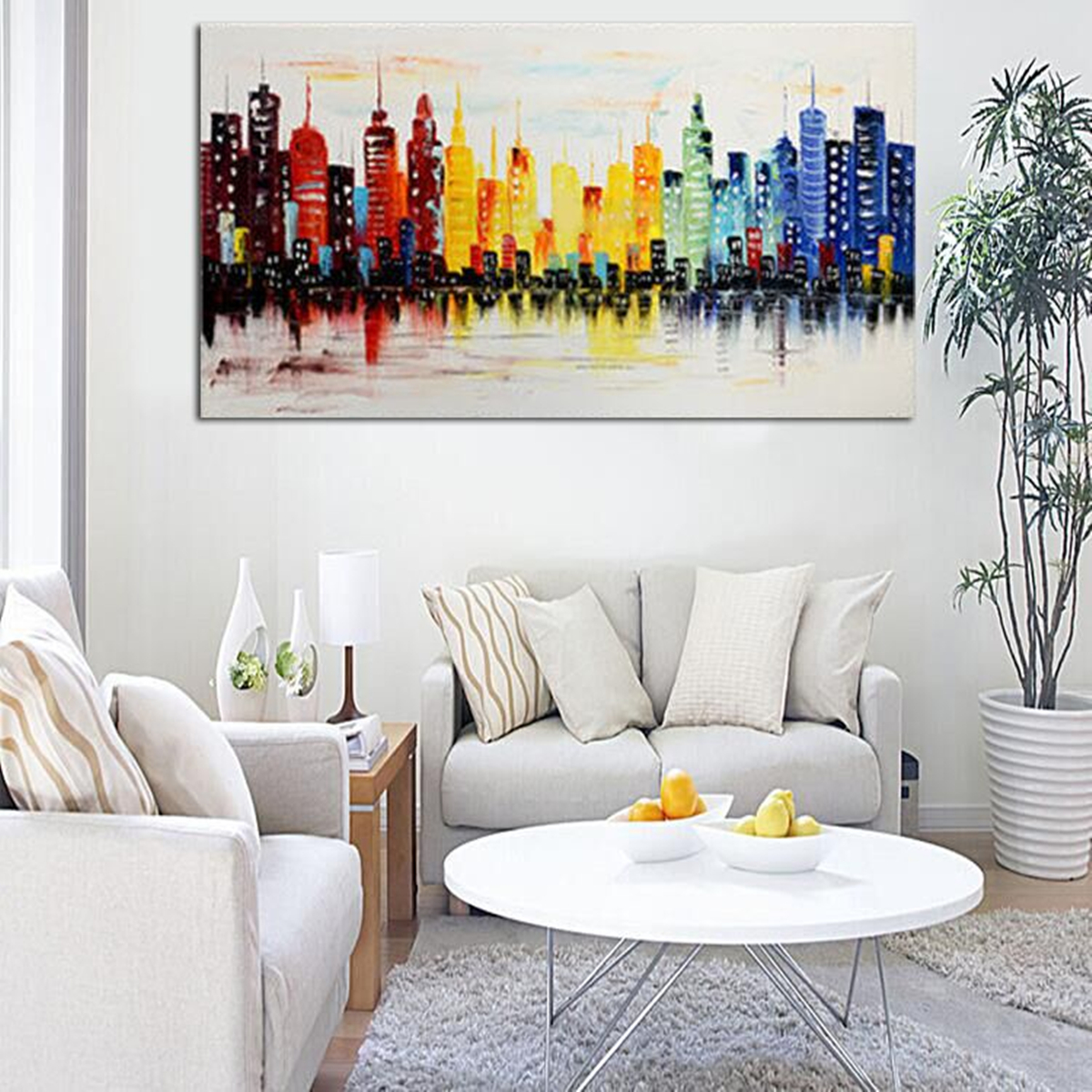 120x60cm modern city canvas abstract painting print living for Wall paintings for living room
