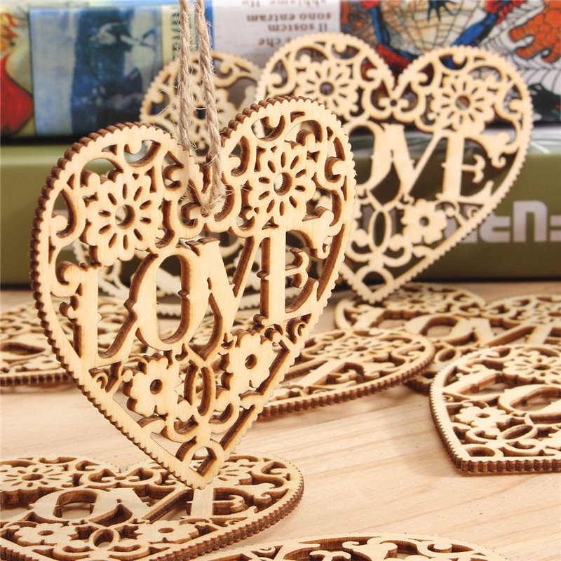 10pcs Heart Love DIY Wood Craft Hanging Decoration Craft Gift | Alex NLD