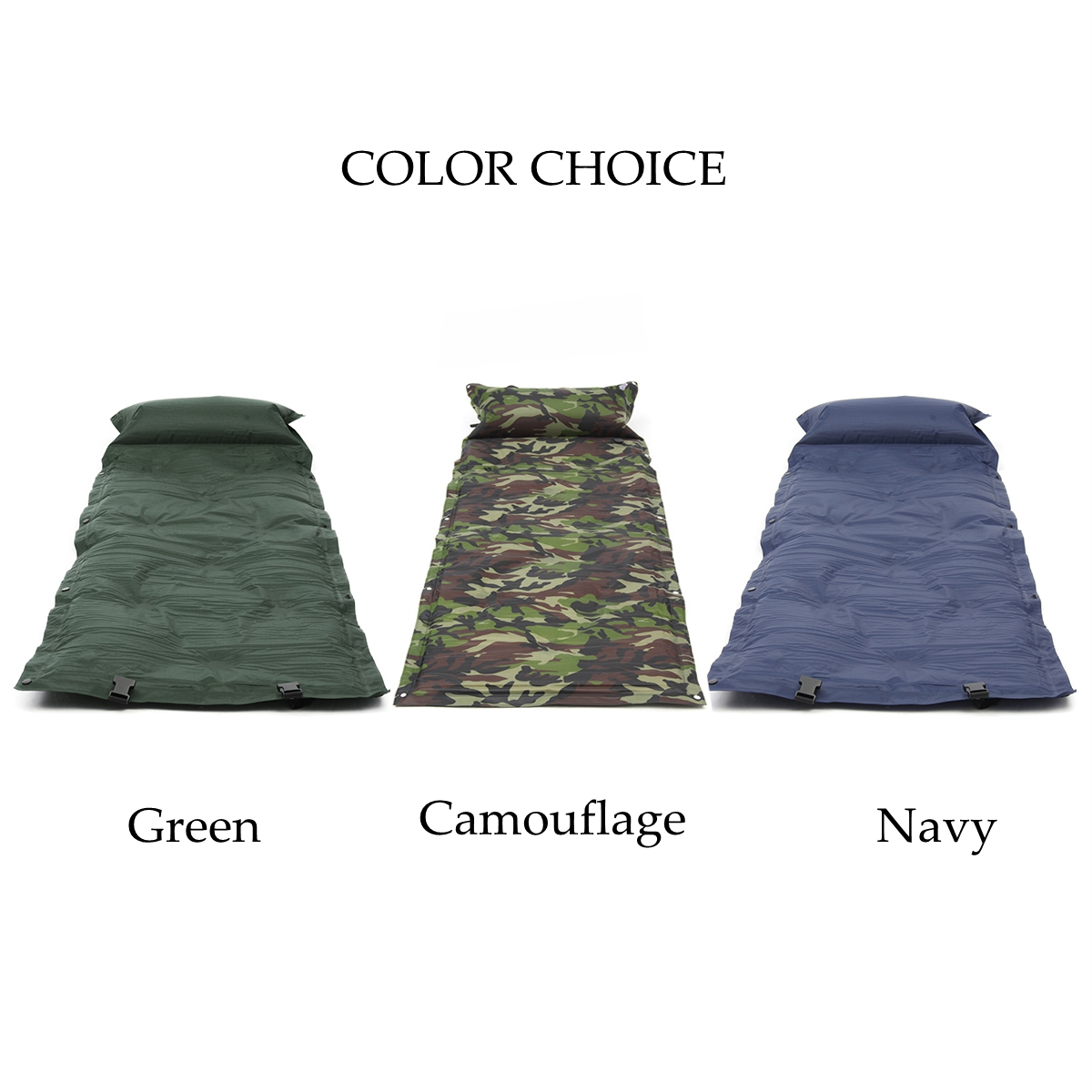 Single Self-Inflating Camping Mat Inflatable Air Mattress Sleeping Pad With Pillow