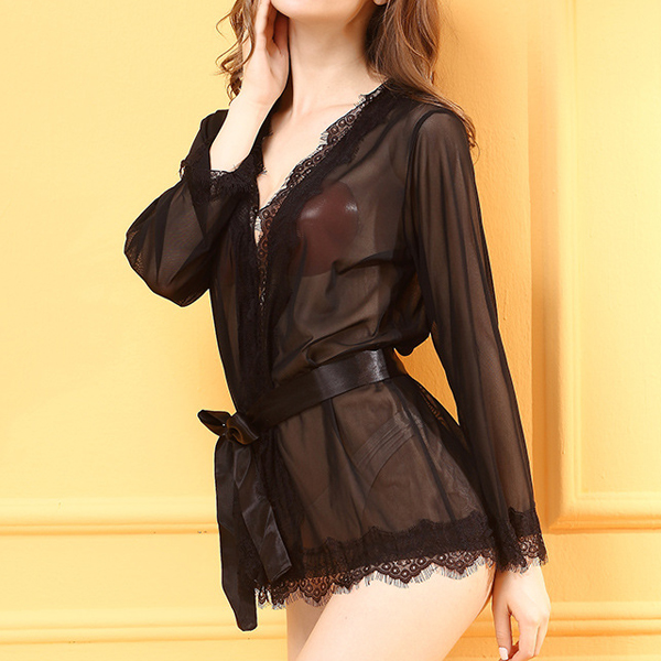 Sexy Lacy Mesh Front Tie Cardigan Nightgown See Through Temptation Robe For Women