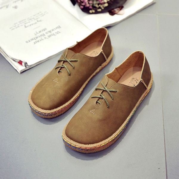 Women Lace Up Casual Shoes Round Toe Outdoor Soft Flat Loafers