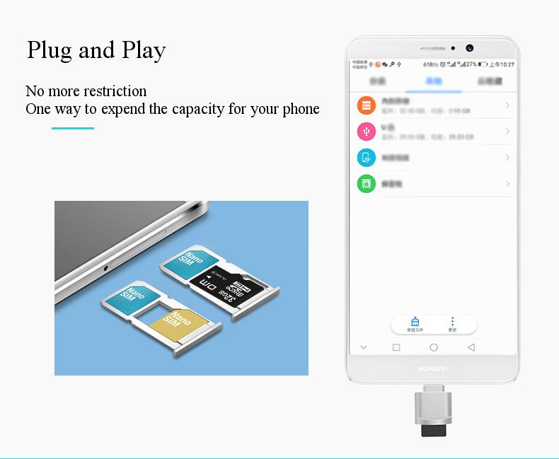 DM Mini Type-C USB 3.1 Micro SD Card TF Card Reader for Macbook Phone Tablet