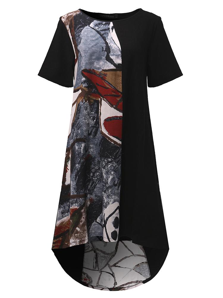 Vintage Women Short Sleeve Printed Patchwork High Low Dress