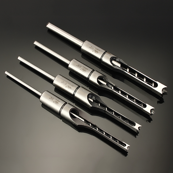 6.35/7.94/9.5/12.7mm Woodworking Square Hole Drill Bit Mortising Chisel Set 1/4 to 1/2 Inch 4pcs set hand tap drill hex shank hss screw spiral point thread metric plug drill bit parts m3 m4 m5 m6 woodworking power tool