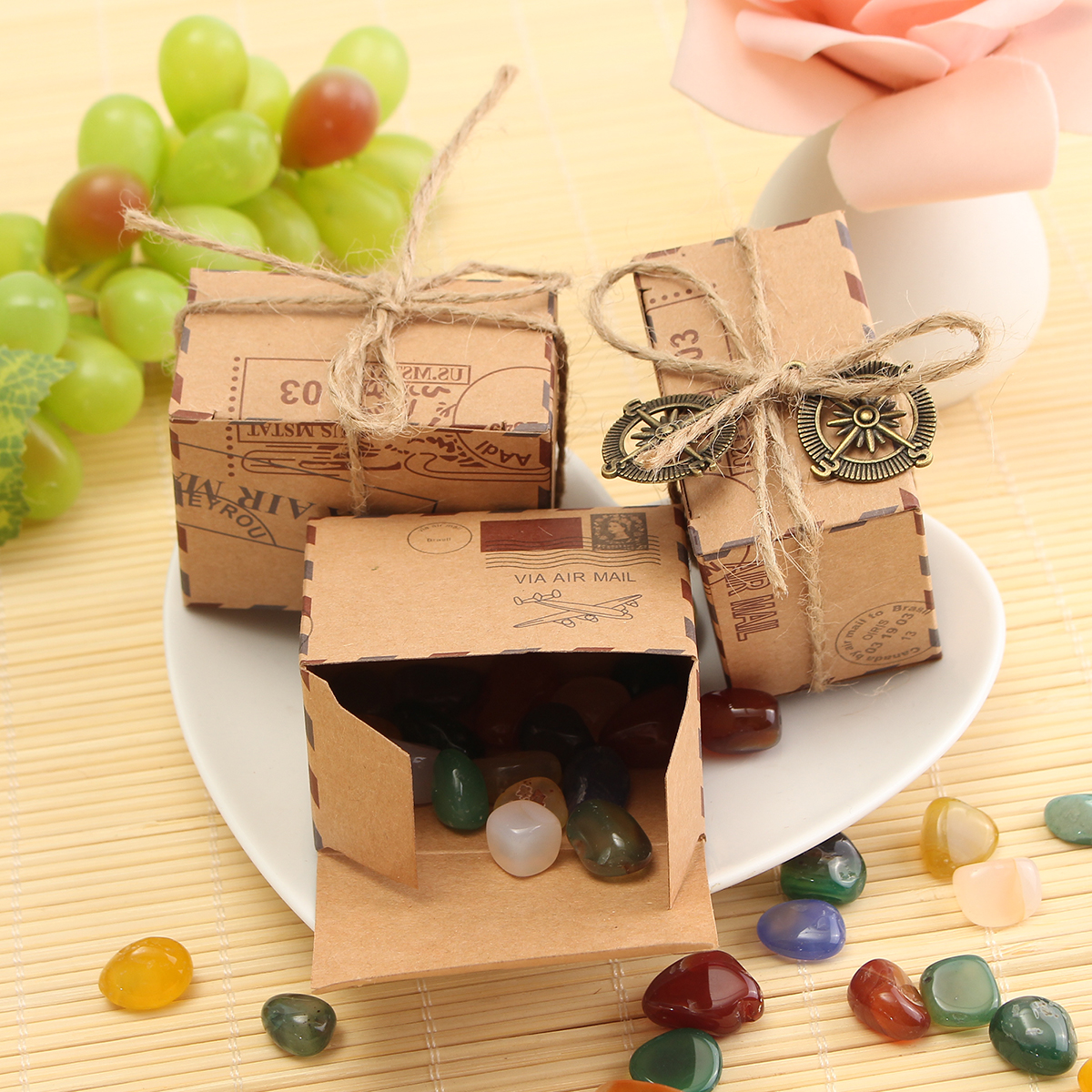 50pcs Kraft Paper Box Airplane Mail Candy Box Rustic ...
