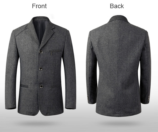 Mens Casual Wool Blend Three Button Spring Autumn Slim Fit Business Suit