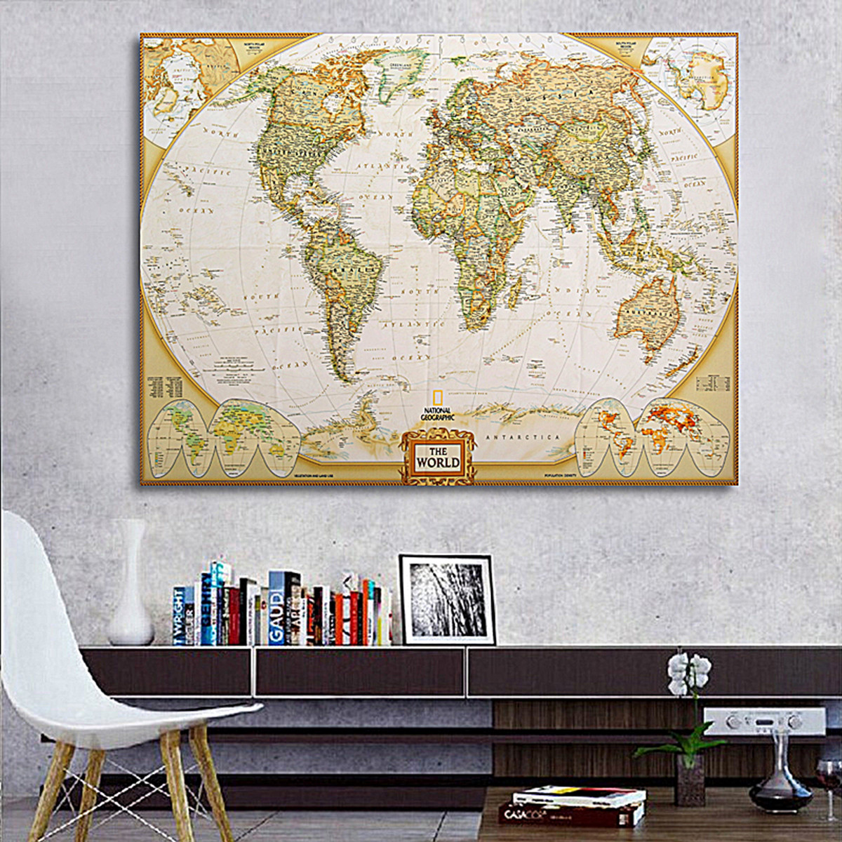Wall Decoration Cloth : Cm hd retro world map silk cloth poster wall home