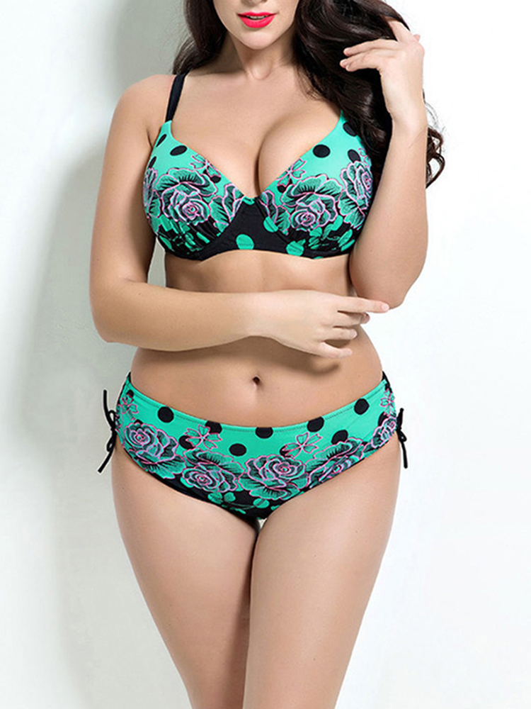 Sexy Cozy Plus Size Underwire Retro Wave Polka Dot Flower Printed Backless Bikinis Sets For Women