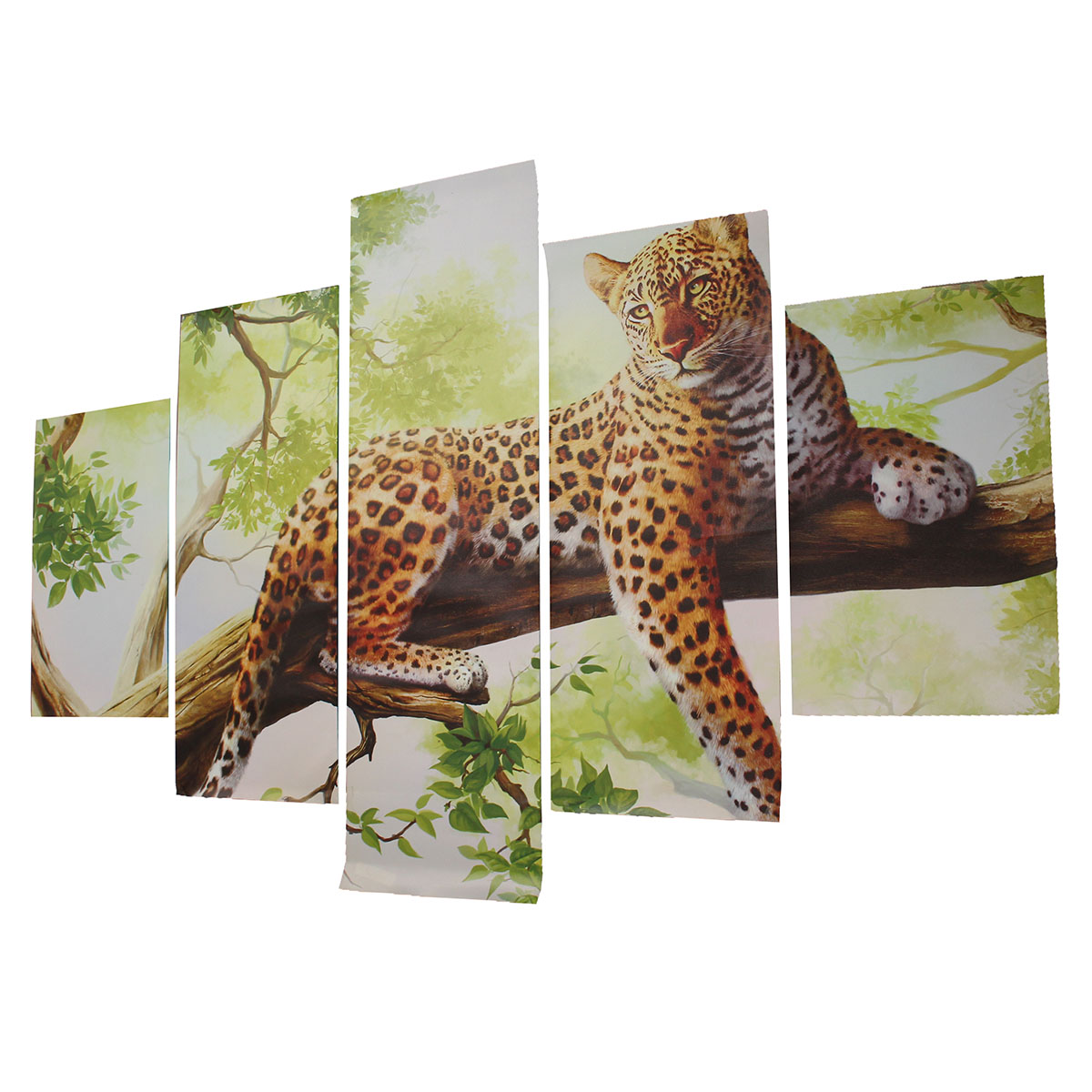 5pcs Combination Canvas Print Painting Leopard Modern Wall