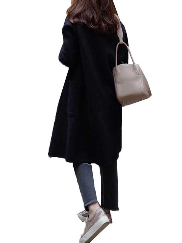 S-5XL Women Loose Turn-Down Collar Button Pocket Wool Outwear Coats