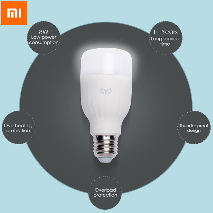 Original Xiaomi Mi Yeelight E27 8W White LED Smart Light Bulb Smartphone App WIFI Control 220V original xiaomi yeelight e27 smart led bulb wifi smartphone control rgb lamp