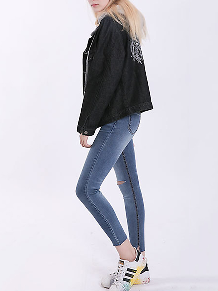 Casual Women Back Embroidery Fake Hooded Denim Jacket