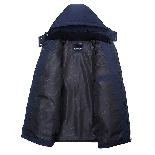 Mens Thick Winter Warm Hooded Detachable Stand Collar Jacket